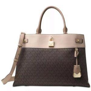 Michael Kors gramercy large satchel brown pink faw
